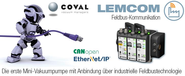 Mini-Vakuumpumpe mit Feldbus-Kommunikation EtherNet/IP und CANopen